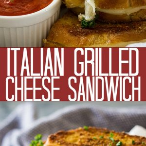 Grilled cheese sandwiches next to small while bowl of pizza sauce.