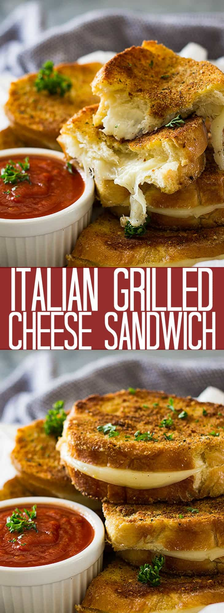 This Italian Grilled Cheese Sandwich is the perfect quick and easy meal! It's filled with ooey, gooey Provolone cheese sandwiched between a golden crispy crust!