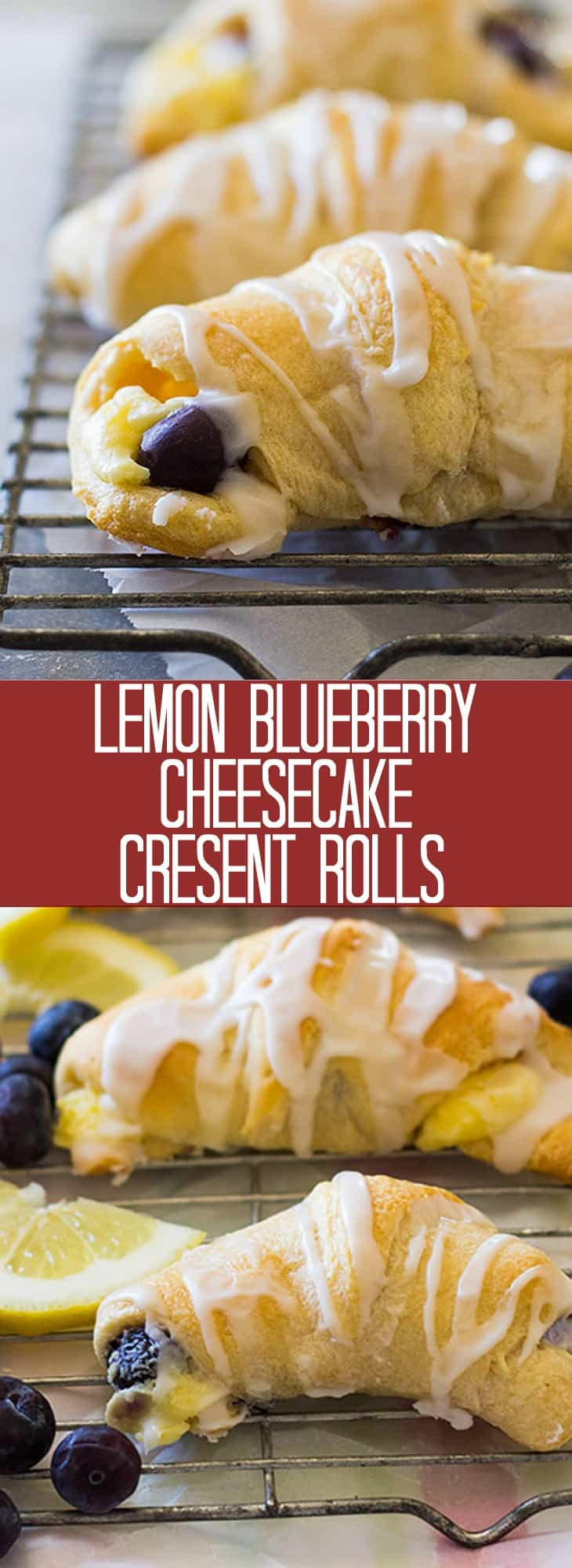 These Lemon Blueberry Cheesecake Crescent Rolls are an easy recipe to make. They are filled with a lemony cheesecake and fresh blueberries all wrapped in a flaky crescent roll!
