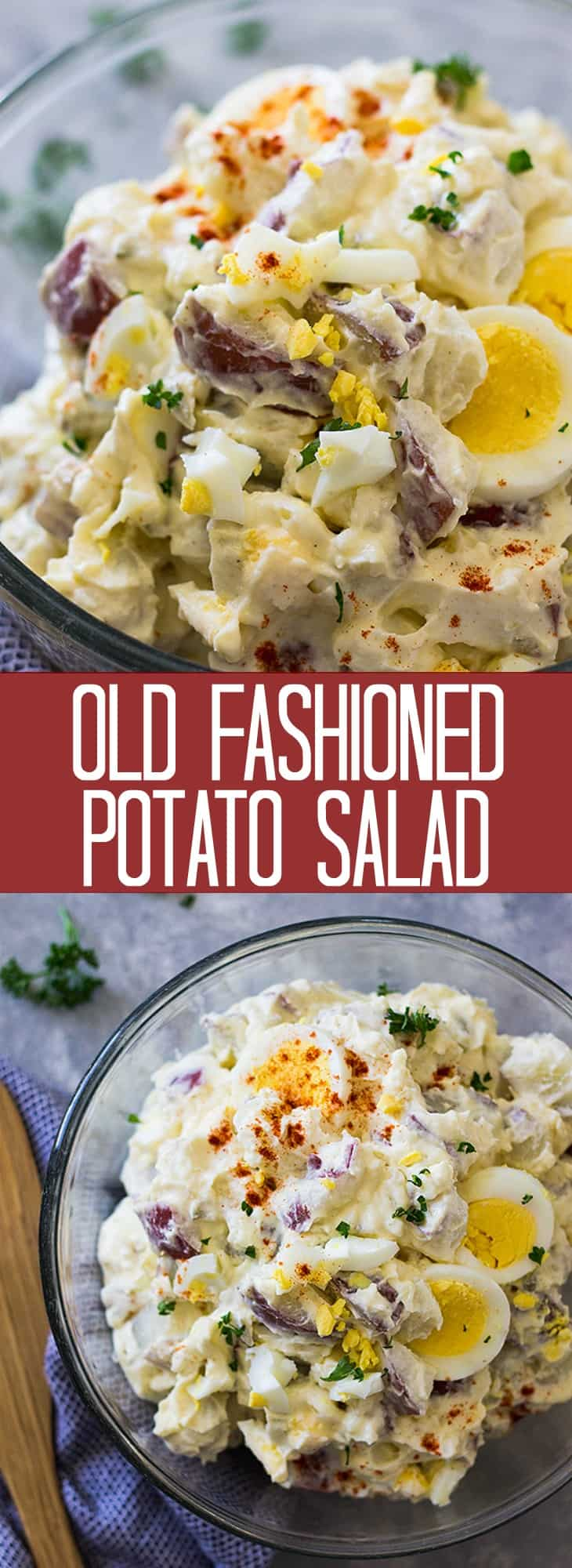 This Old Fashioned Potato Salad is a classic just like grandma made it! It's creamy, made with mayonnaise, sour cream and hard boiled egg. It's perfect for all your summertime get togethers!