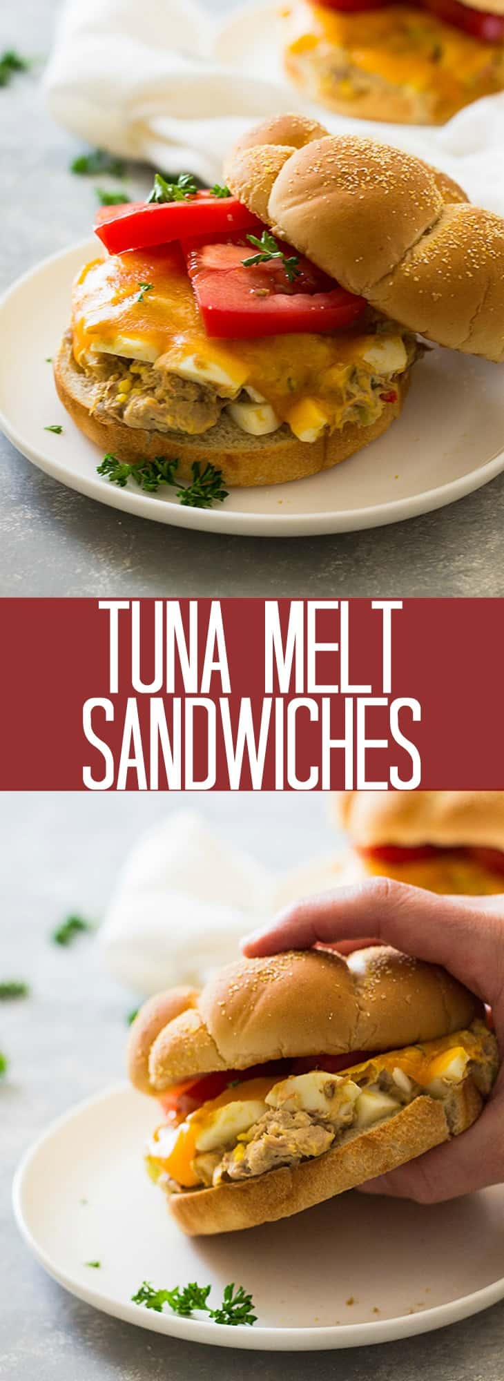 These Tuna Melt Sandwiches are anything but boring. Filled with boiled egg, dill pickle, and melted cheese they will quickly become a family favorite!