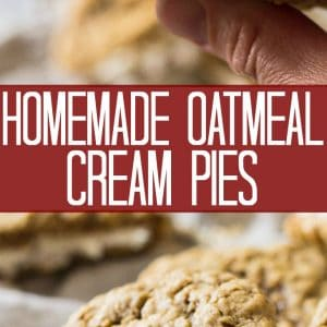Your childhood favorite cookie just got better! These Homemade Oatmeal Cream Pies are made with a delicious vanilla frosting and soft oatmeal cookies.