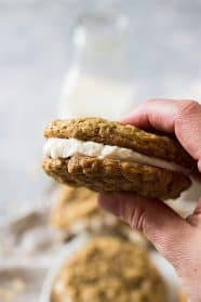 These Homemade Oatmeal Cream Pies are filled with a delicious vanilla frosting sandwiched between two soft oatmeal cookies. Way better than the original, I promise!