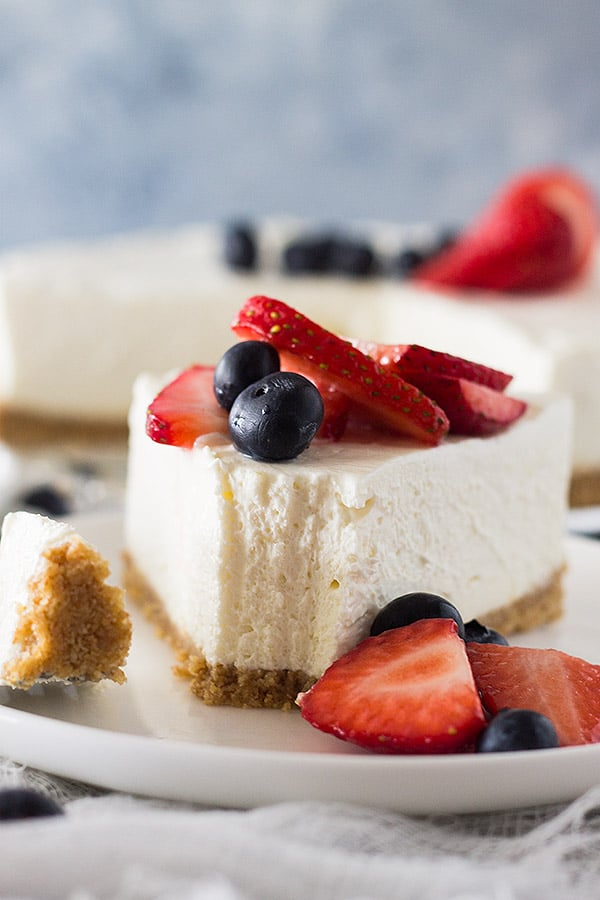 This No Bake Vanilla Cheesecake is super simple to make. It's smooth, light and perfect for any topping!