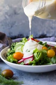 This easy Homemade Buttermilk Ranch Dressing is packed with fresh herbs and perfect for any salad.