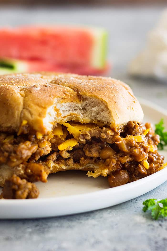 These slow cooker beef and bean sloppy joes are a great twist on the classic. Use your favorite can of baked beans to change up the flavor!
