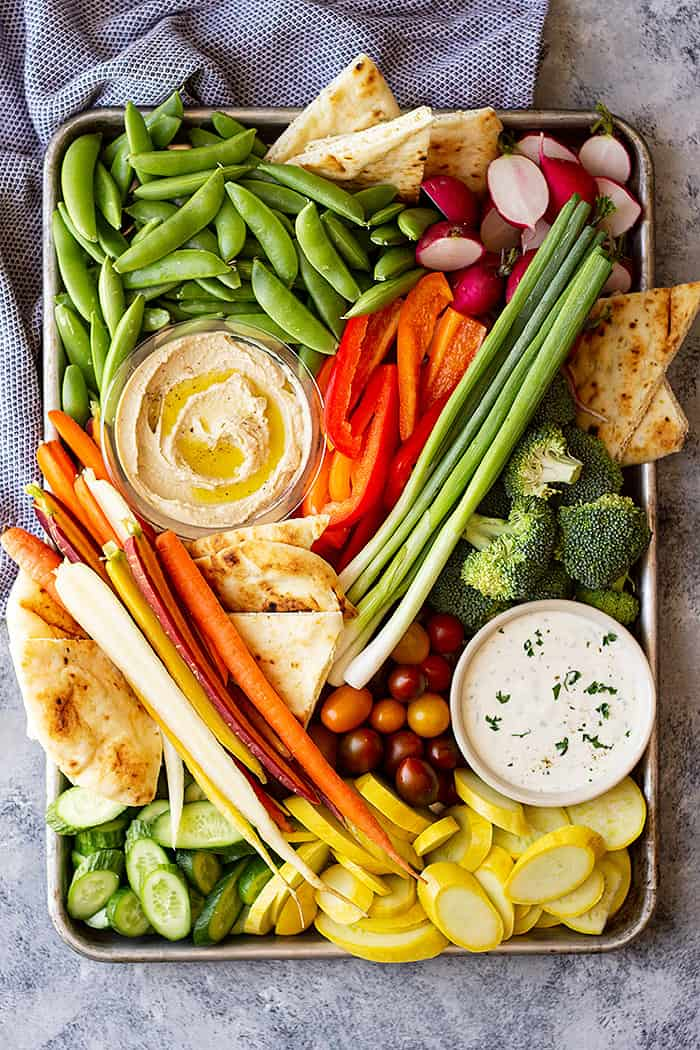 Overhead view of a beautiful vegetable tray! Complete with homemade ranch!