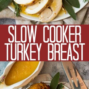 This Slow Cooker Turkey Breast is perfect for smaller parties or even just meal prepping! The slow cooker ensures it's extra juicy and the rub makes it flavorful!