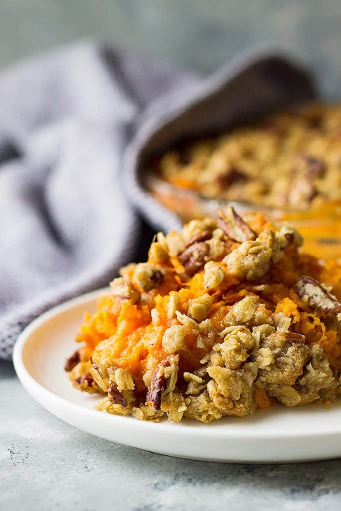 This Sweet Potato Casserole with Streusel Topping is a classic Thanksgiving side dish! But don't get eat it for Thanksgiving, enjoy it year round!