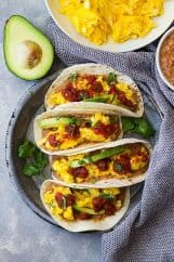 These meatless Bean and Cheese Breakfast Tacos are a great way to start off the day! They are delicious, hearty, and healthy!