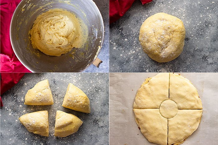 Pictures showing steps on how to prepare the dough for the brioche cinnamon snowflake.