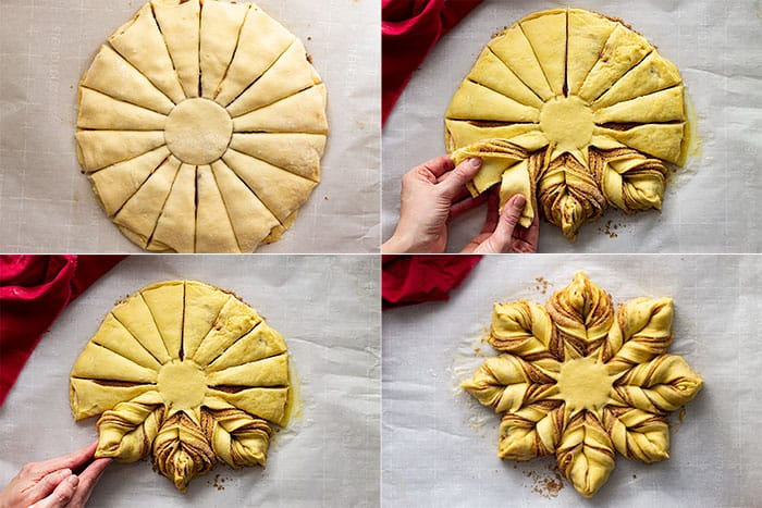 Pictures showing how to twist the bread to form the snowflake.