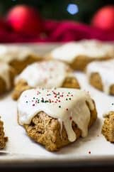 These Gingerbread Scones with cream cheese frosting are like a gingerbread cookie only in breakfast form!! Filled with cinnamon, ginger, clove, and molasses make these a wonderful breakfast treat!!