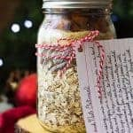 This Mason Jar Gift Fruit and Nut Oatmeal is a perfect Christmas gift! This oatmeal with dried fruit and nuts is a great way to start off the morning, with greek yogurt and fresh fruit on top!