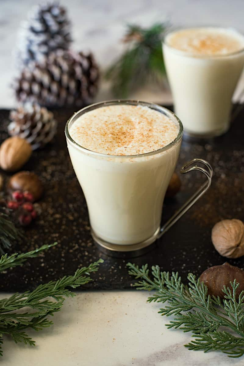 Traditional homemade eggnog is just how you want it, creamy and rich with all the holiday flavors of vanilla, nutmeg and cinnamon. A cozy mug of comfort for the whole family.