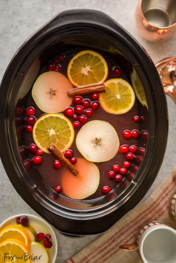 This Crock Pot Cranberry Pear Cider is made from scratch in your slow cooker! A festive, warm fall and winter beverage, perfect for Thanksgiving or Christmas!