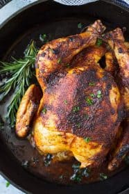 This Homemade Oven Roasted Rotisserie Chicken is super easy to make, tastes better than the store bought, and can be used for so many other recipes!!