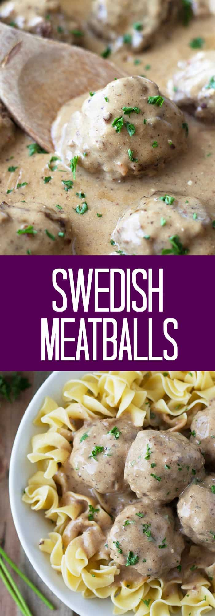 Swedish Meatballs- made with a combination of pork and beef then simmered in a creamy brown gravy. | countrysidecravings.com