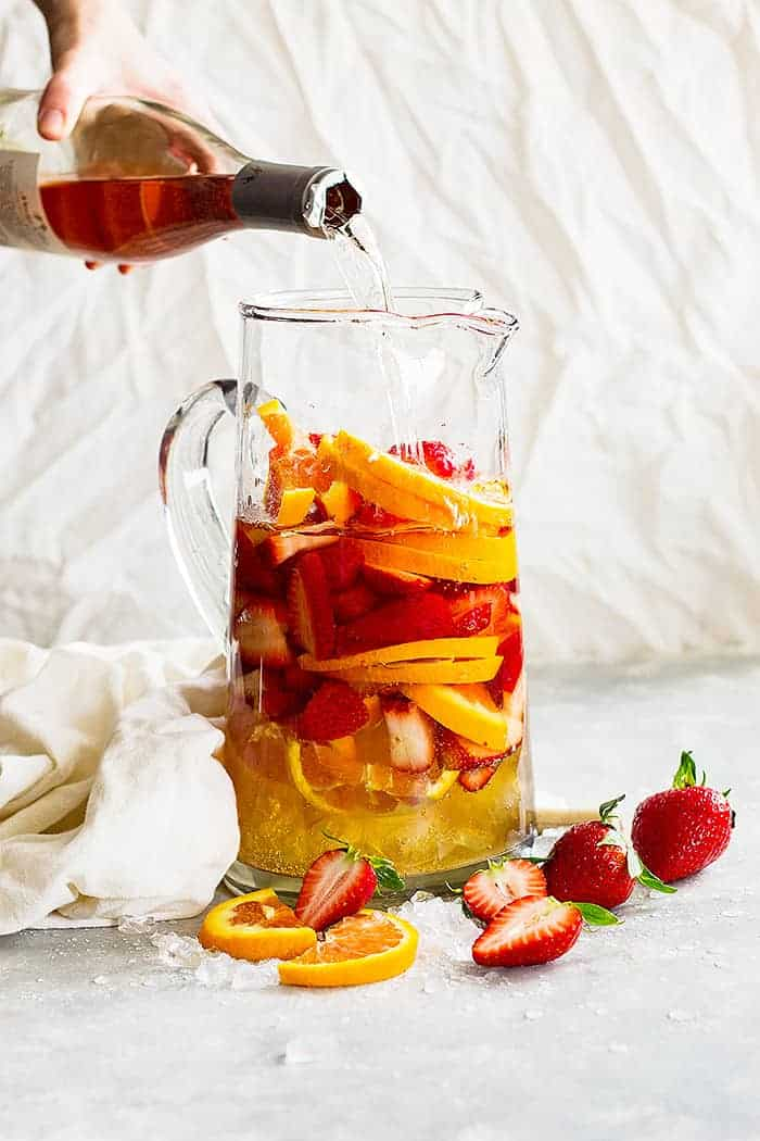 Strawberry Rose Sangria -a refreshing drink perfect for any occasion! It's refreshing, not too sweet, and perfect for a party!