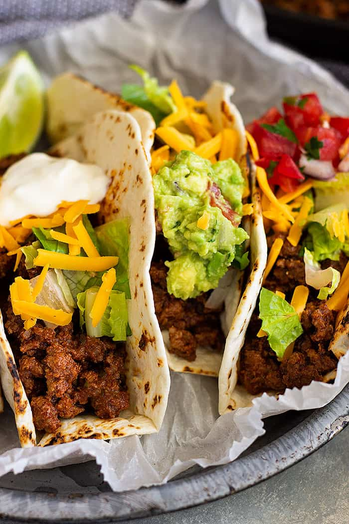 Homemade Ground Beef Taco Meat -a perfect taco meat recipe that's great for any night of the week! This taco meat is perfect for tacos, burritos, and even nachos!