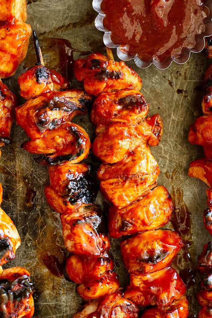 These BBQ Marinated Chicken Kabobs are quick and easy to make. They are marinated in an easy homemade sweet and tangy BBQ sauce then grilled to perfection.