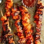 These BBQ Marinated Chicken Kabobs are marinated in an easy homemade BBQ sauce then grilled for that perfect sticky sweet chicken kabob!