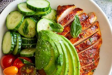This Chicken Avocado Tomato Salad is a great dinner for any night of the week. It's full of flavor, uses leftover chicken so it's a great no cook meal!