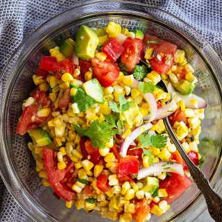 Grilled Corn Salad with Tomato and Avocado