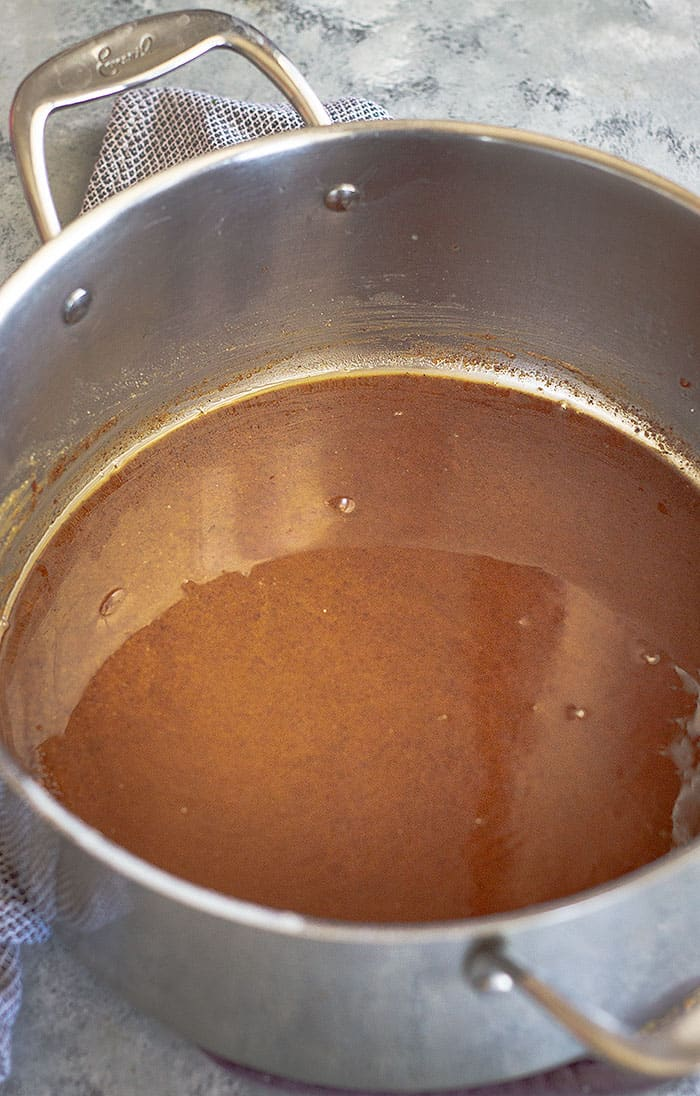 Picture of what a roux should look like for a chicken, sausage, and shrimp gumbo.