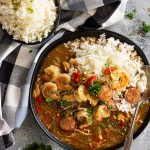 Slow Cooker Chicken, Sausage, and Shrimp Gumbo is a hearty, flavorful, and filling meal! It's easy to make thanks to the crockpot and it's freezer friendly!