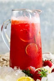 A pitcher of strawberry lemonade