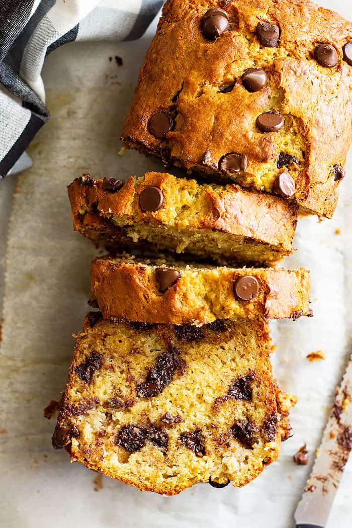 This Easy Banana Bread is perfectly moist, not gummy, and will become a family favorite I GUARANTEE it! It's perfect as is or throw in some chocolate chips or nuts to make it your own! #easyrecipe #bananabread #quickbread