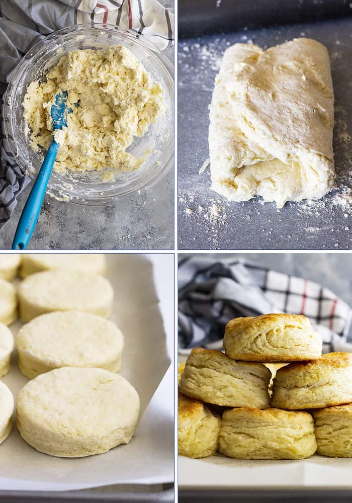 How to make flaky buttermilk biscuits with tons of buttery layers. Perfect for serving with breakfast, lunch, dinner, or dessert! #buttermilkbiscuits #homemadebiscuits #bread #biscuitrecipe