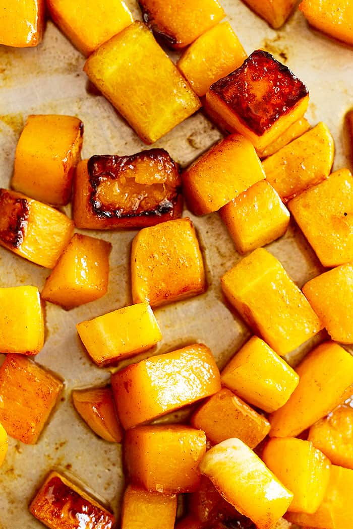 This Maple Roasted Butternut Squash is a great side dish for the holidays! It's healthy, easy to make, and full of flavor! #butternutsquash #roastedvegetables