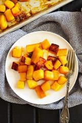 This Maple Roasted Butternut Squash is an easy side dish that's healthy and great for the holidays! #butternutsquash #roastedvegetables