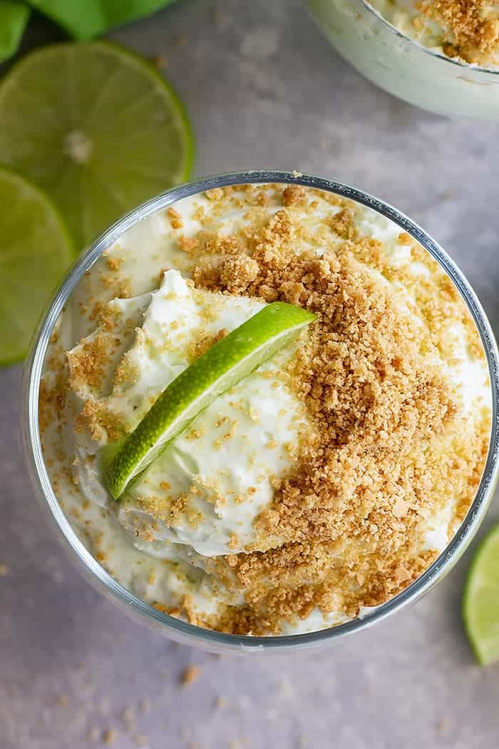 This Lime Cheesecake Fluff is a quick and easy no bake dessert! It's bright lime flavor is a perfect refreshing way to end a meal! #limedessert #nobakecheesecake
