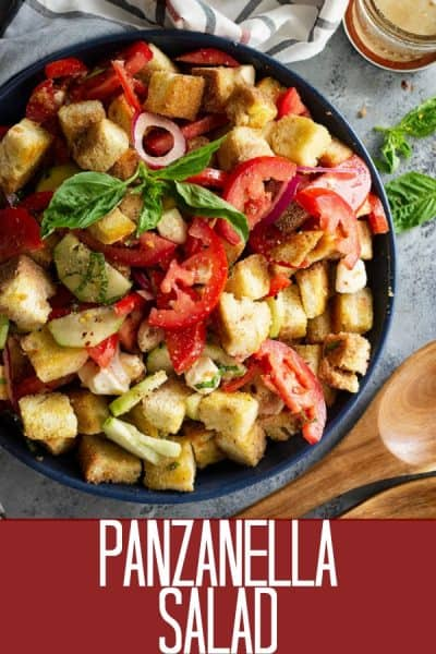 Top down view of Panzanella Salad with Mozzarella garnished with fresh basil.
