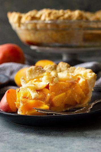 Slice of peach pie.