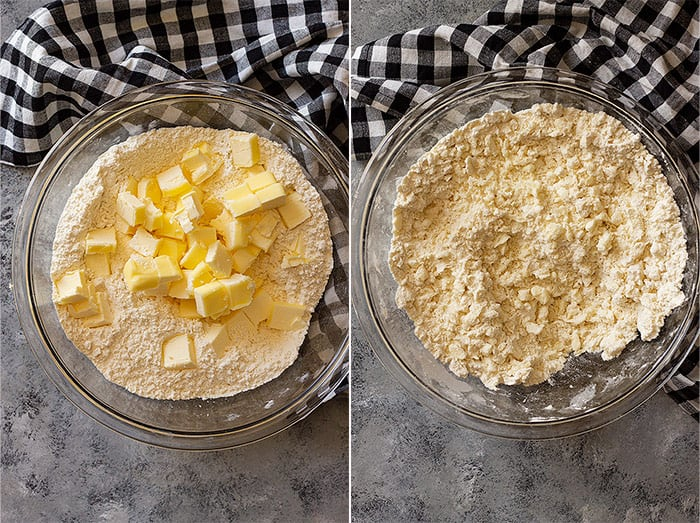 two pictures of pie dough being made.