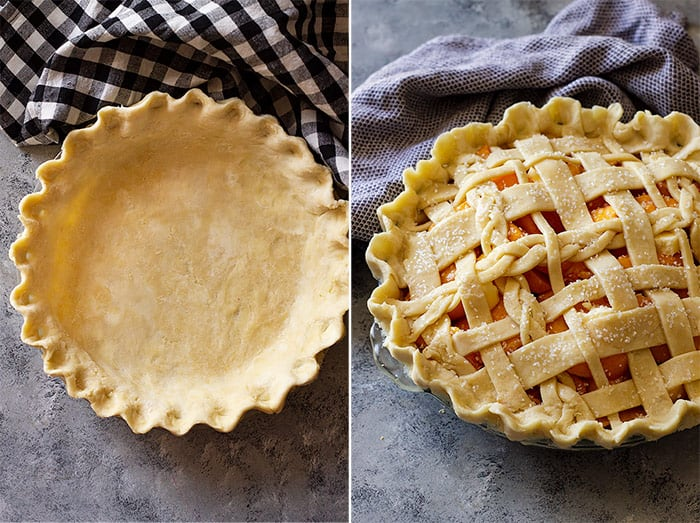 Pictures of pie dough in pan and filled with a lattice top.