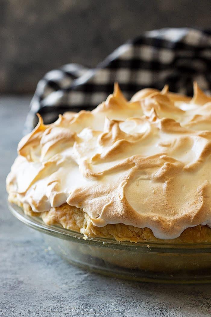 Chocolate meringue pie full of pretty meringue swirls.