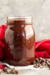 A jar of homemade hot fudge sauce.