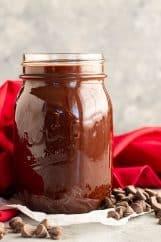 A jar of homemade hot fudge sauce.