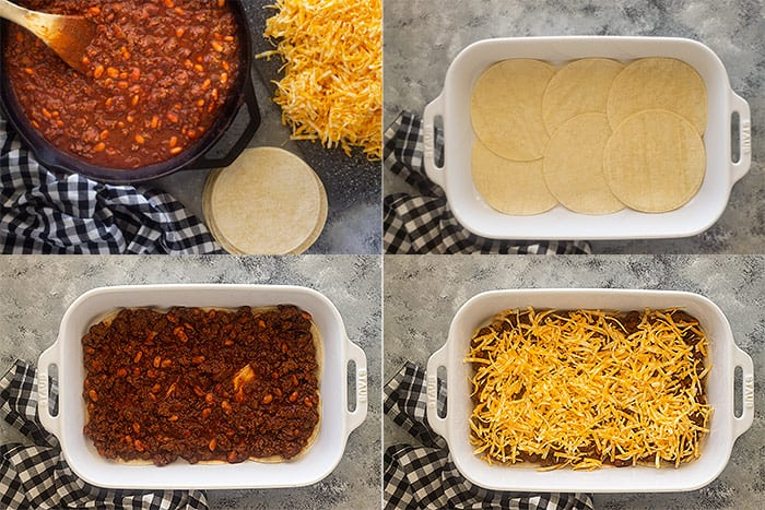 4 images showing how to layer the Mexican Casserole.
