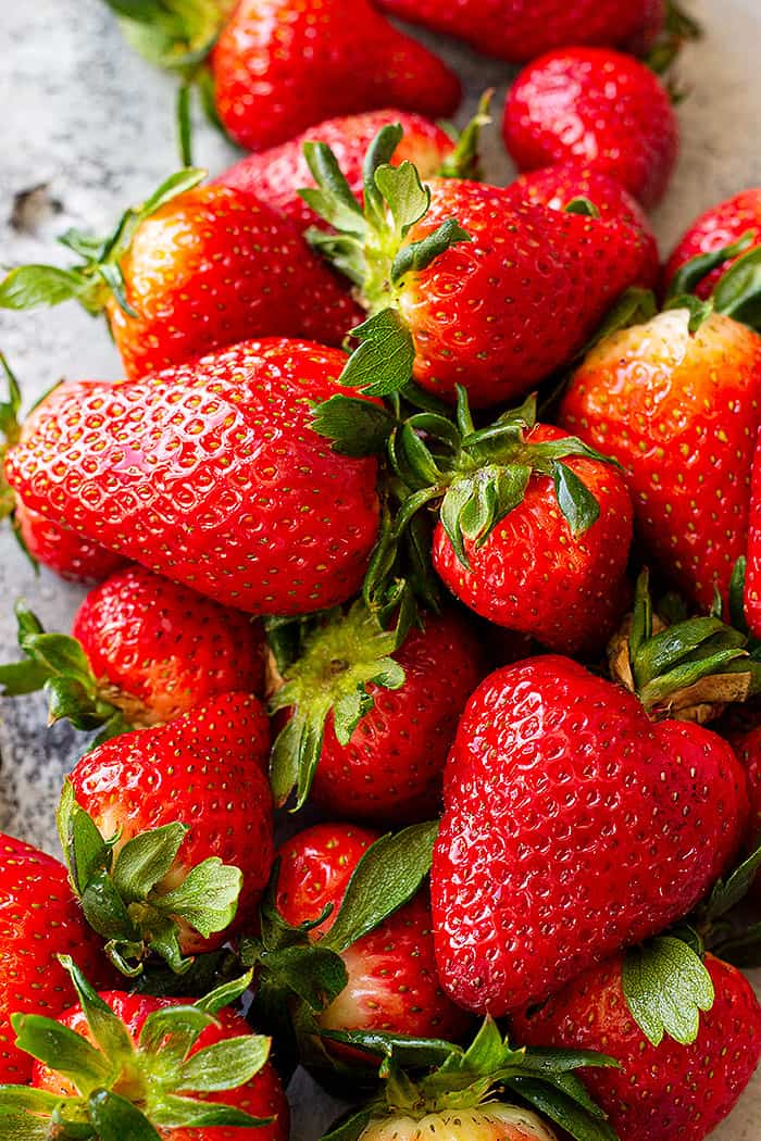 A close up of fresh strawberries.