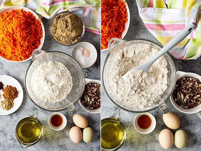 Two pictures of cake ingredients.
