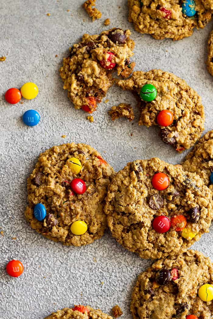 Cookies placed on a board with M&M's around.