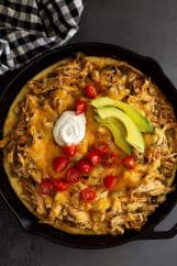 Top down view of chicken tamale pie.