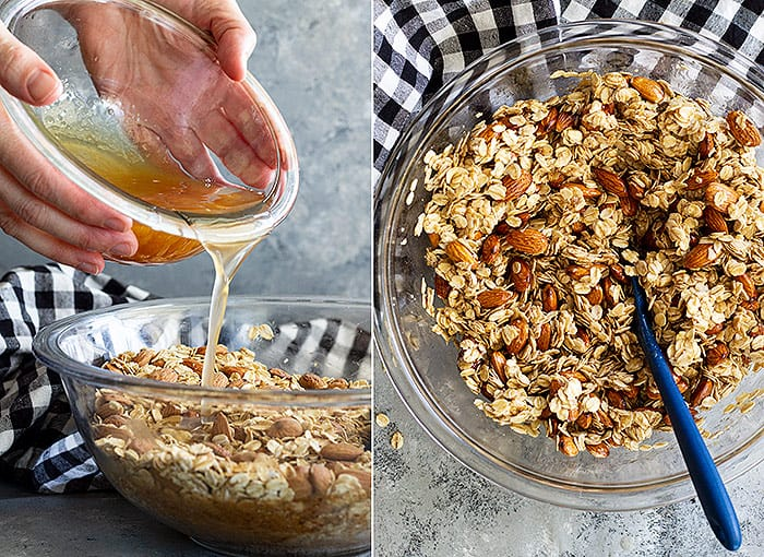 Pictures showing granola being mixed with the honey mixture.