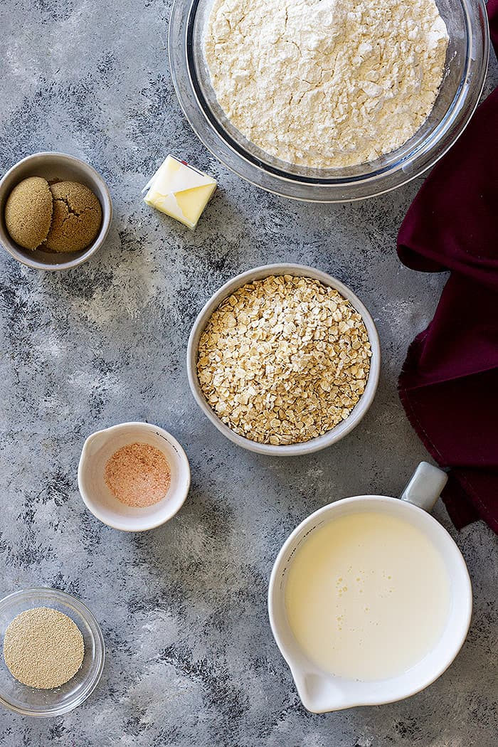 Ingredients for oatmeal sandwich bread.